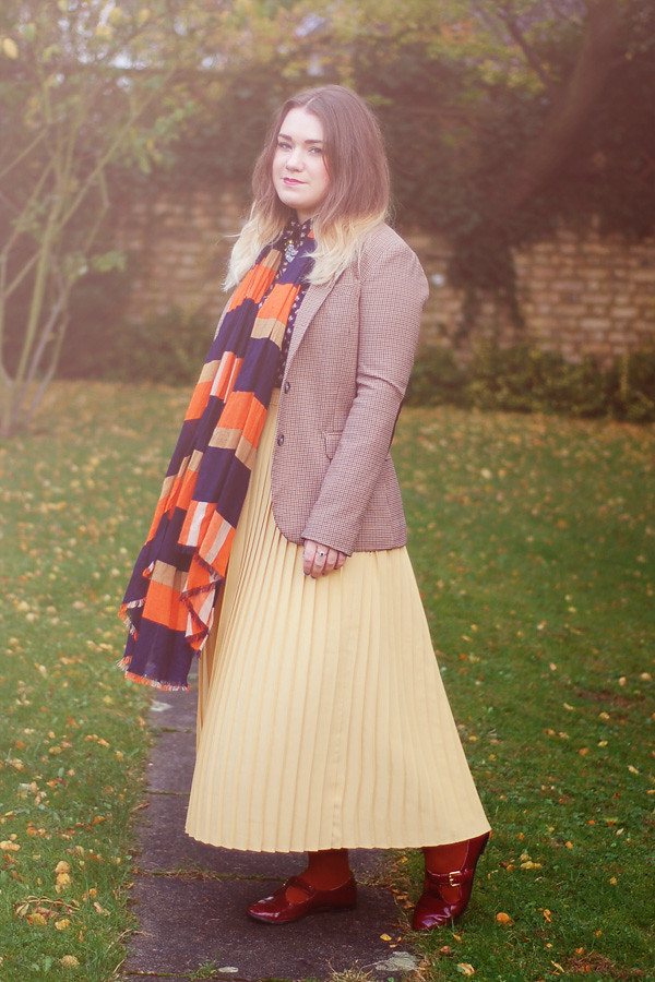 Wardrobeblock : Brown tweed blazer H&M Orange Navy stripe scarf whistles vintage yellow skirt