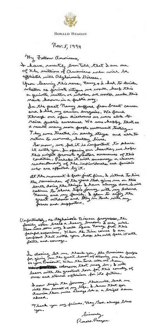 ronald reagan alzheimer s letter letters of note i wish i could spare nancy from this 3555