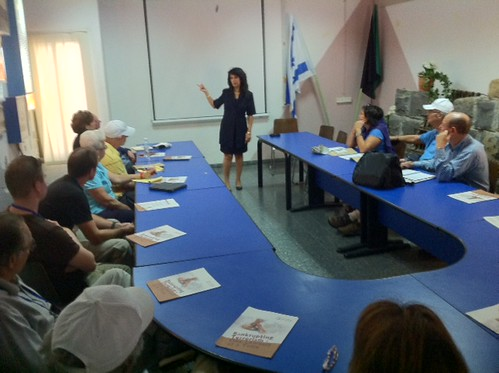 Nitsana Darshan-Leitner speaks to Ultimate Mission participants on Syrian border by Shurat HaDin - Israel Law Center