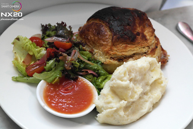 china house Chicken and Mushroom Pie with Mashed Potato and Mixed Leaves
