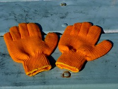 art, orange, pattern, yellow, glove,