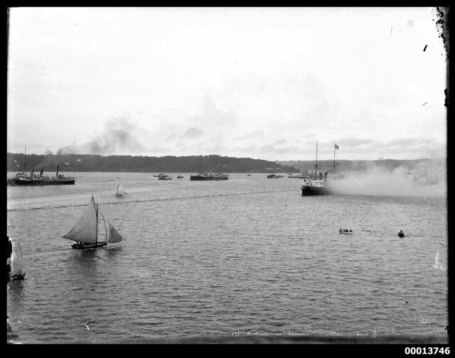 Squadron of Australia's first naval fleet arriving in Sydney Harbour