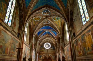 St. Francis of Assisi Basilica interior - Colorful frescoes by Giotto (a UNESCO Heritage site)