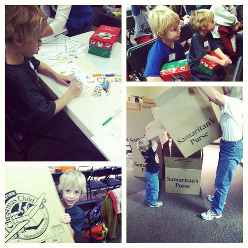 the boys participating in one of my favorite Christmas traditions...#operationchristmaschild, #christmas