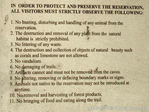 Rules and Regulations when visiting the Tabon Caves Complex Site Museum at Lipuun Point, Quezon, Palawan