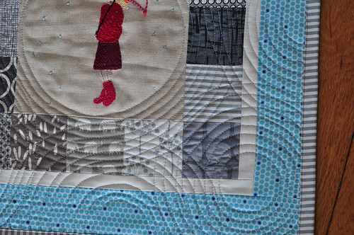 Rainy day pillow - quilting detail
