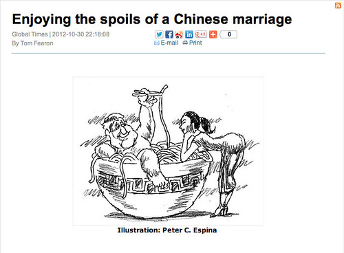 "Screenshot of Global Times Op-Ed on ""Enjoying the Spoils of a Chinese Marriage"""