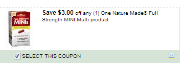 $3.00/1 Nature Made Full Strength Mini Multi Product Coupon