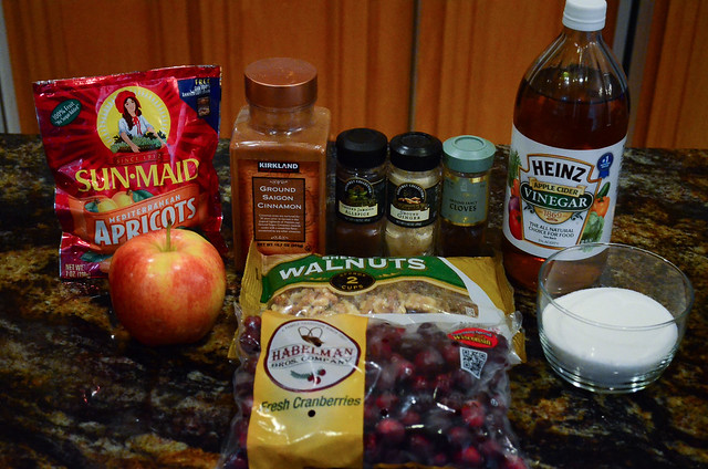 All the required ingredients required to make Cranberry Apricot Chutney.