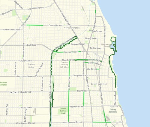 Evanston bike lanes in the Chicago Bike Map app