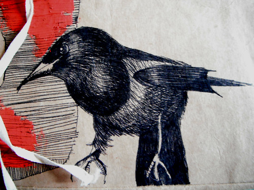Storage Bag Magpie and Skelly Red Stripes by The People In My Head