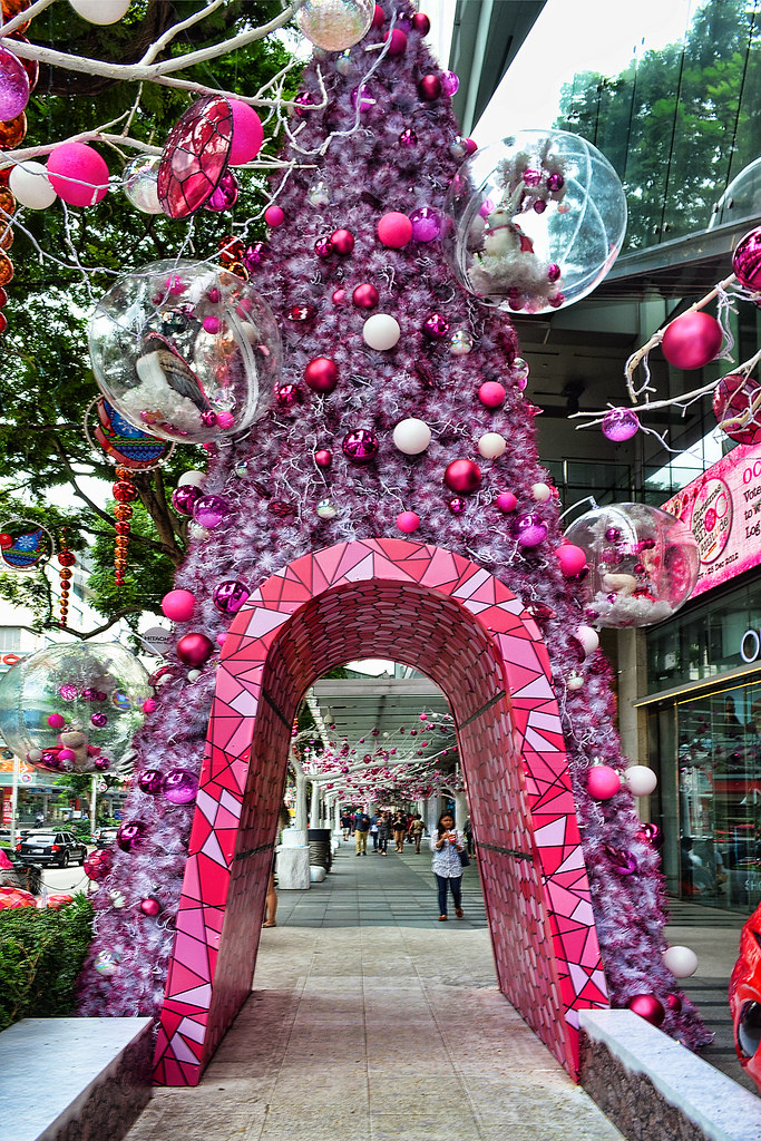 Pink Christmas tree at Orchard Central, Singapore