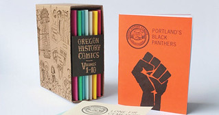 A picture of the Oregon History Comics Collection: a small boxset with ten colorful minicomics inside. Next to it is the mini comic on the Portland Black Panther Party, featuring the iconic black fist on an orange background