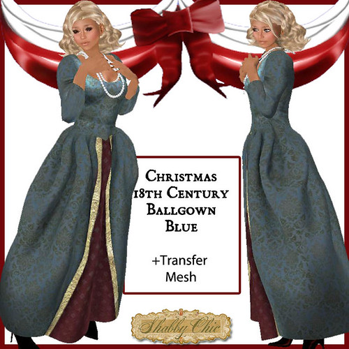 Shabby Chic 18th Christmas Ballgown- BLUE by Shabby Chics