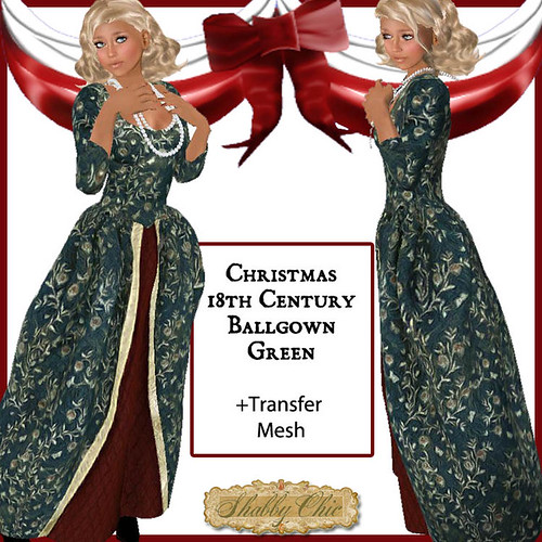 Shabby Chic Vintage 18th Christmas Ballgown-GREEN by Shabby Chics