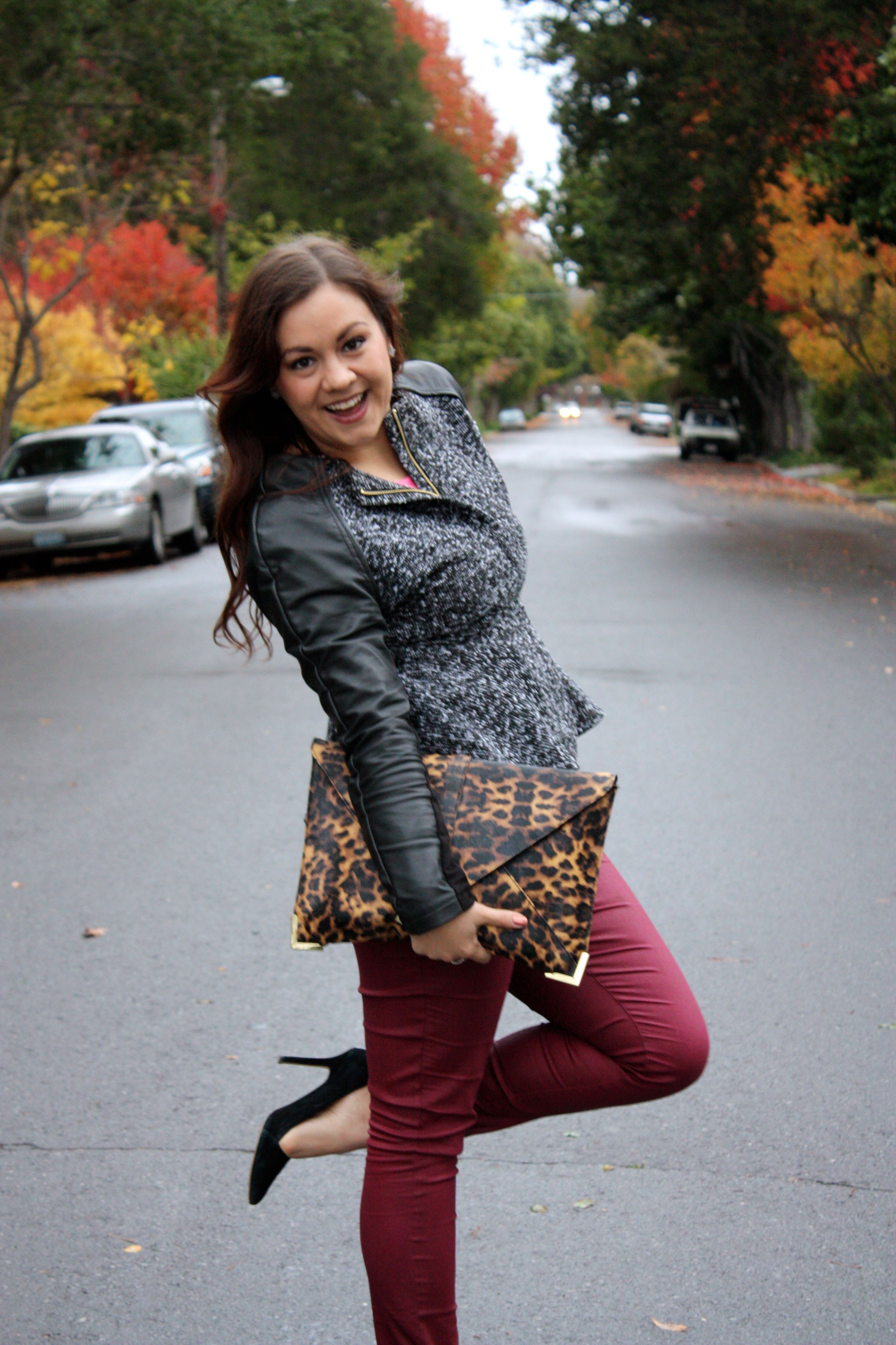 neon lace top - burgundy waxed jeans - tweed and leather peplum jacket - leopard envelope clutch10