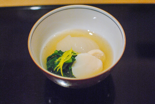daikon, scallops, greens, dashi