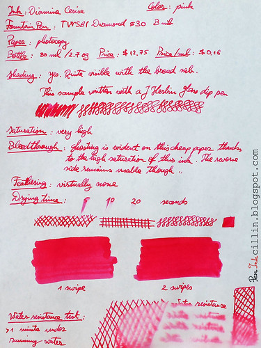Diamine Cerise on photocopy