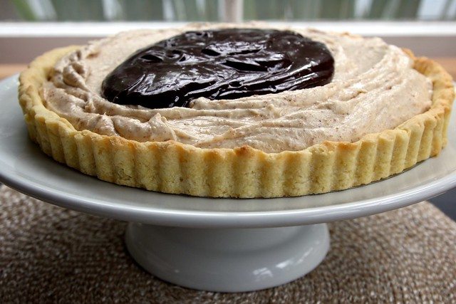 honey almond butter and chocolate tart