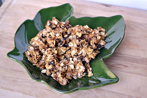 crunchy homemade granola on pretty green leaf plate