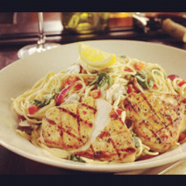 FLORENTINE PICCATA PASTA Garlic marinated chicken breasts grilled ...