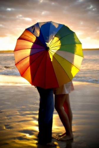Sunset under the umbrella