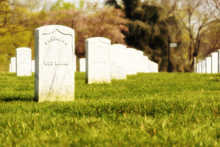Row of tombstones from the U.S.S. Maine Memorial at Arlington Cemetery in Washington, DC