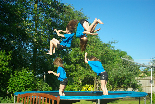 Trampoline fun in the garden