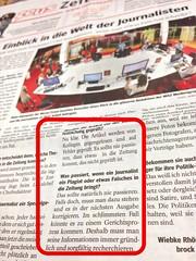 WAZ (21.11.2012) zu Fehlern im Journalismus (im Rahmen der ZEUS-Beilage)