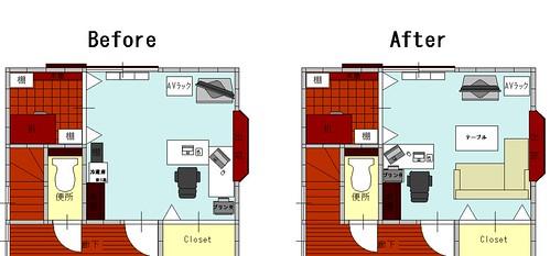 部屋の模様替えの配置案