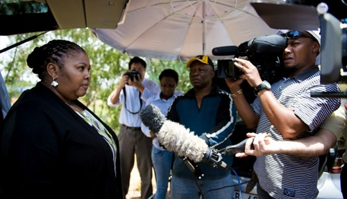 Republic of South Africa Minister of Defense Nosiviwe Mapisa-Nqakula speaking to the press on the hospitalization of former President Nelson Mandela. Mandela was reported to be doing better after his hospital stay. by Pan-African News Wire File Photos