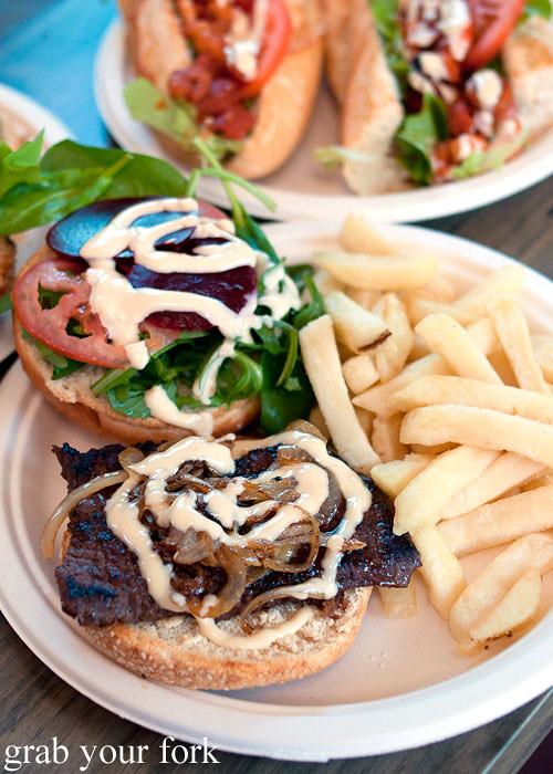wagyu steak burger at step-a-side diner cabramatta