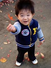 タコ公園にて。もみじをくれるとらちゃん 2012/12/16