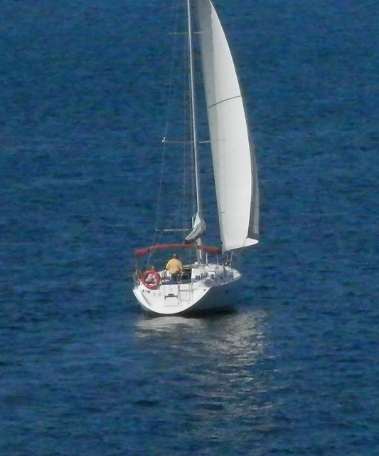 Hombre en su velero