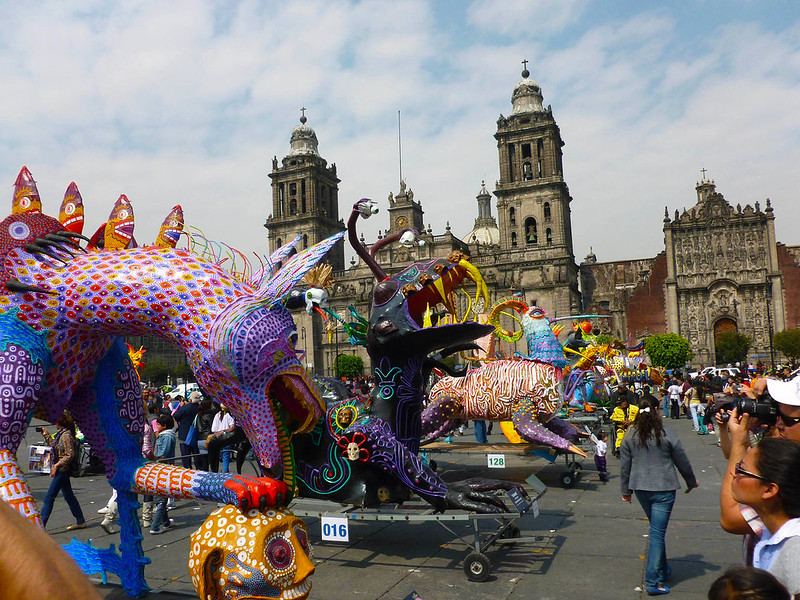Metropolitan Cathedral with Day of the Dead monsters