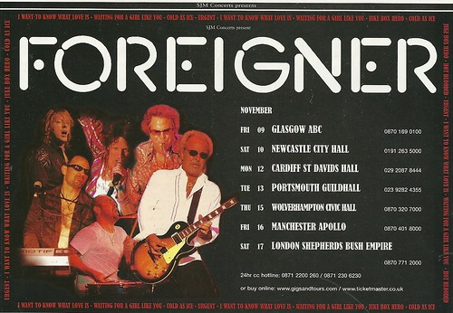 November 2007 Foreigner UK Tour