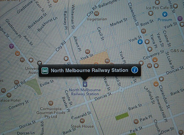 Apple Maps: North Melbourne Station is in South Melbourne