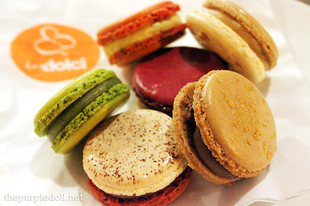 Bar Dolci Pistachio, Salted Caramel, Peanut Butter, Ferrero, Biscotino and Dark Chocolate Macarons