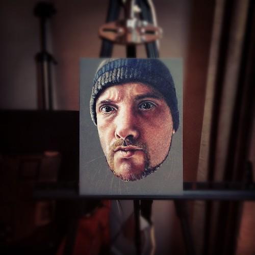 In progress colored pencil portrait of me.
