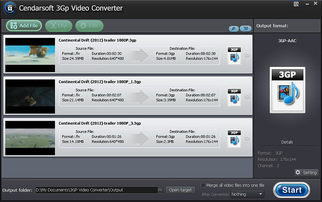 Click to view Cendarsoft 3GP Video Converter 5.8.2 screenshot