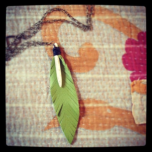 I am crazy wild for my new leather feather necklace found in a great store called shopgirl in KAnsas city. #handmadelove
