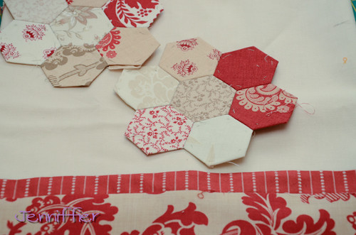 hexagon table runner in progress