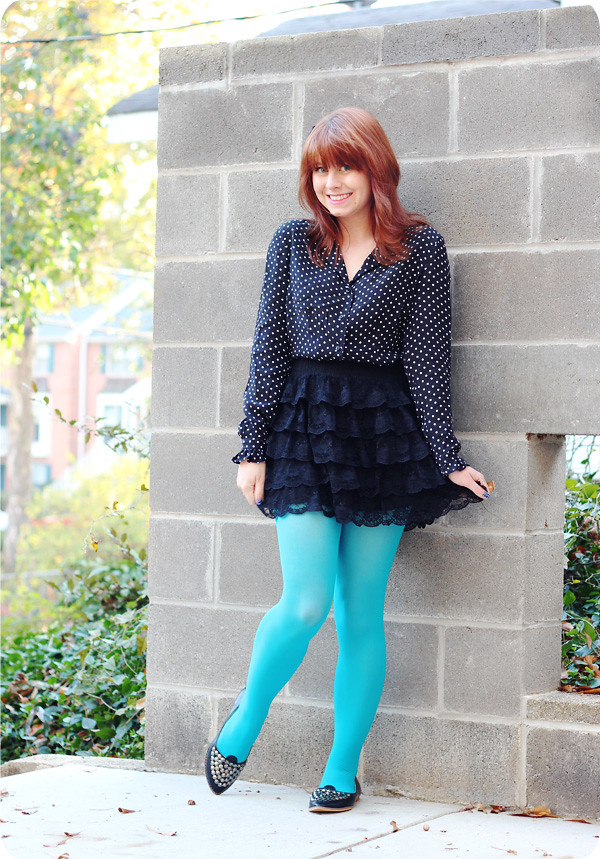 Bright Blue Tights New Studded Flats Amp A Sway Chic