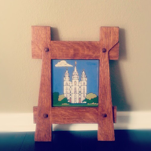 My dad's latest addition to his Etsy shop. Handpainted tile in handcrafted frame.