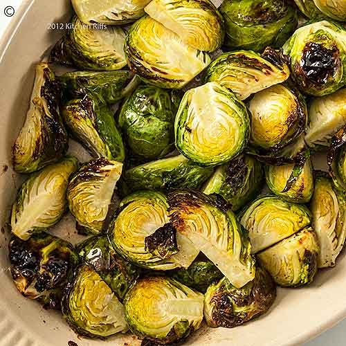 Roast Brussels Sprouts in Baking Dish, Overhead View