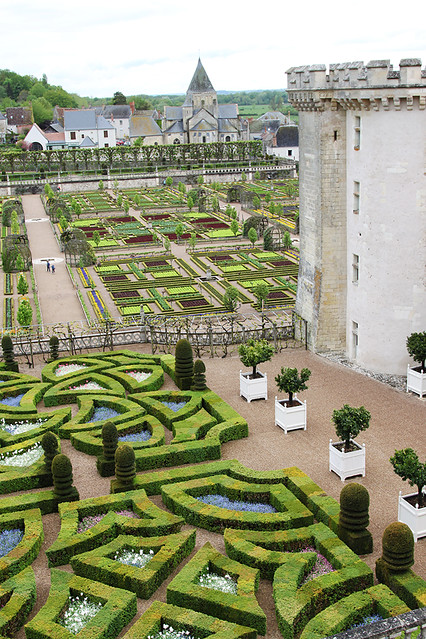 View over the gardens at Chateau de Villandry in the Loire Valley