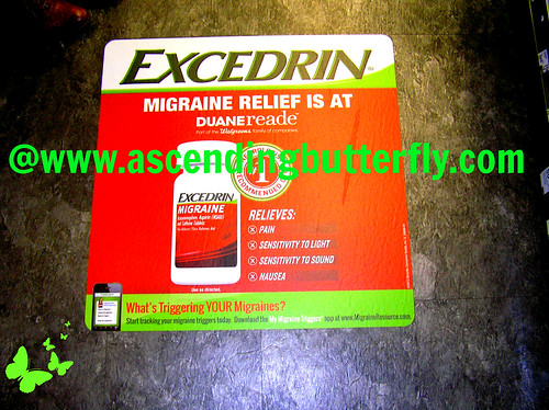 Excedrin Migraine in store sign on FLOOR at Duane Reade Herald Square WATERMARKED
