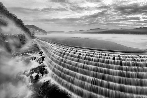 longexposure winter light sunset sky blackandwhite mist snow ny newyork motion cold reflection ice water monochrome fog clouds sunrise print landscape photo scenery gallery image cloudy dam fineart stock scenic picture reservoir canvas overlook sunstar newcrotondam smoothwater digitalexposureblending mikeorso