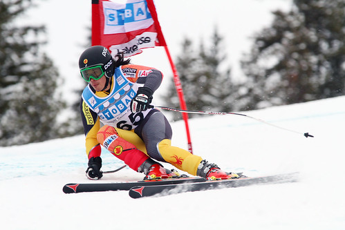 Morgan Pridy during the first downhill training run in Lake Louise (Nov. 2012)