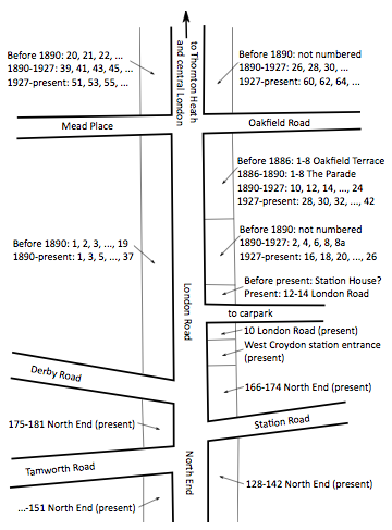 A line diagram showing parts of London Road, North End, Mead Place, Oakfield Road, Derby Road, Station Road, and Tamworth Road.  The various blocks of buildings alongside London Road have been annotated to show which street numbers they had at which period of history.